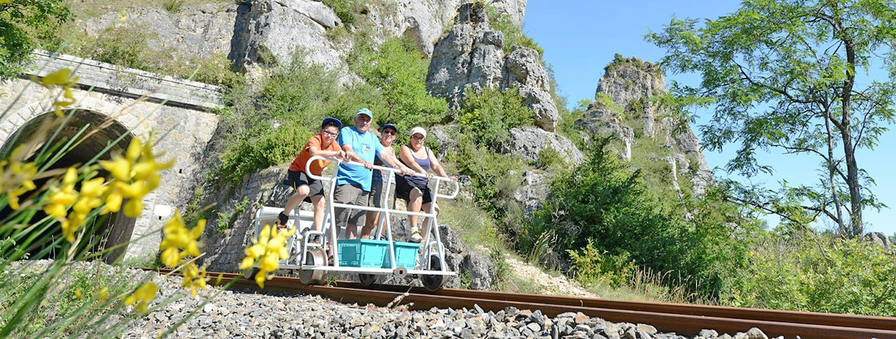 Camping La Dourbie vélo rail Aveyron