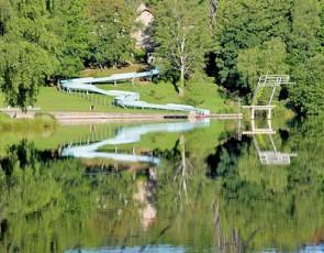 camping L'Air du Lac Saint-Hilaire-les-Places toboggan aquatique